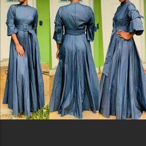 Caribbean queen floor length denim dress lg sm